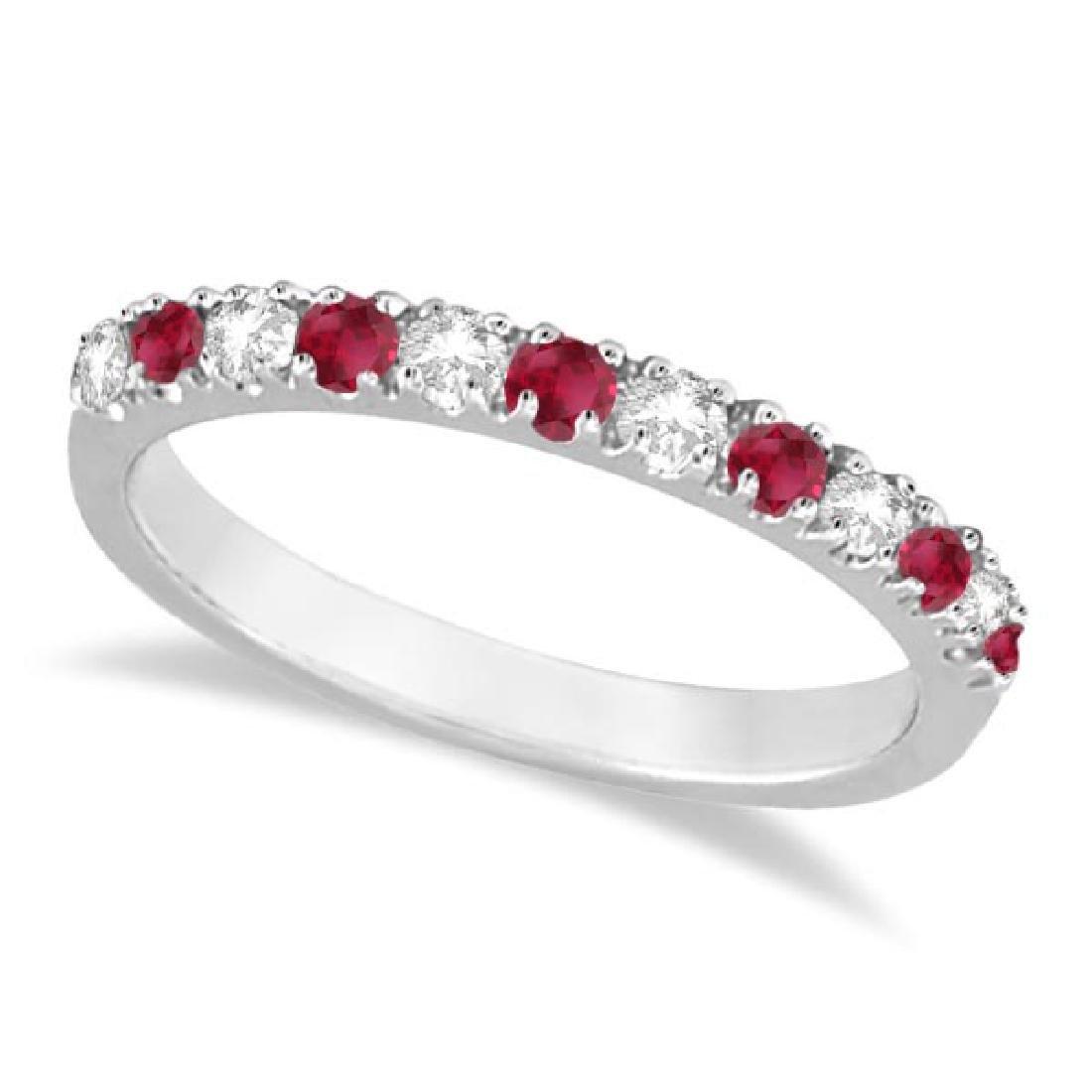 Diamond and Ruby Ring Guard Anniversary Band 14K White