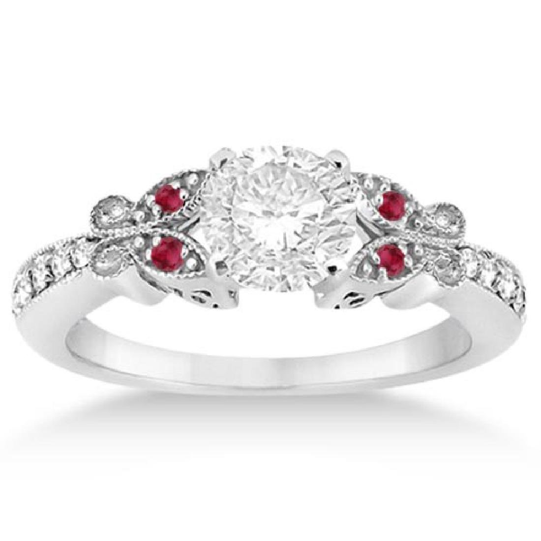 Butterfly Diamond and Ruby Engagement Ring 14k White Go