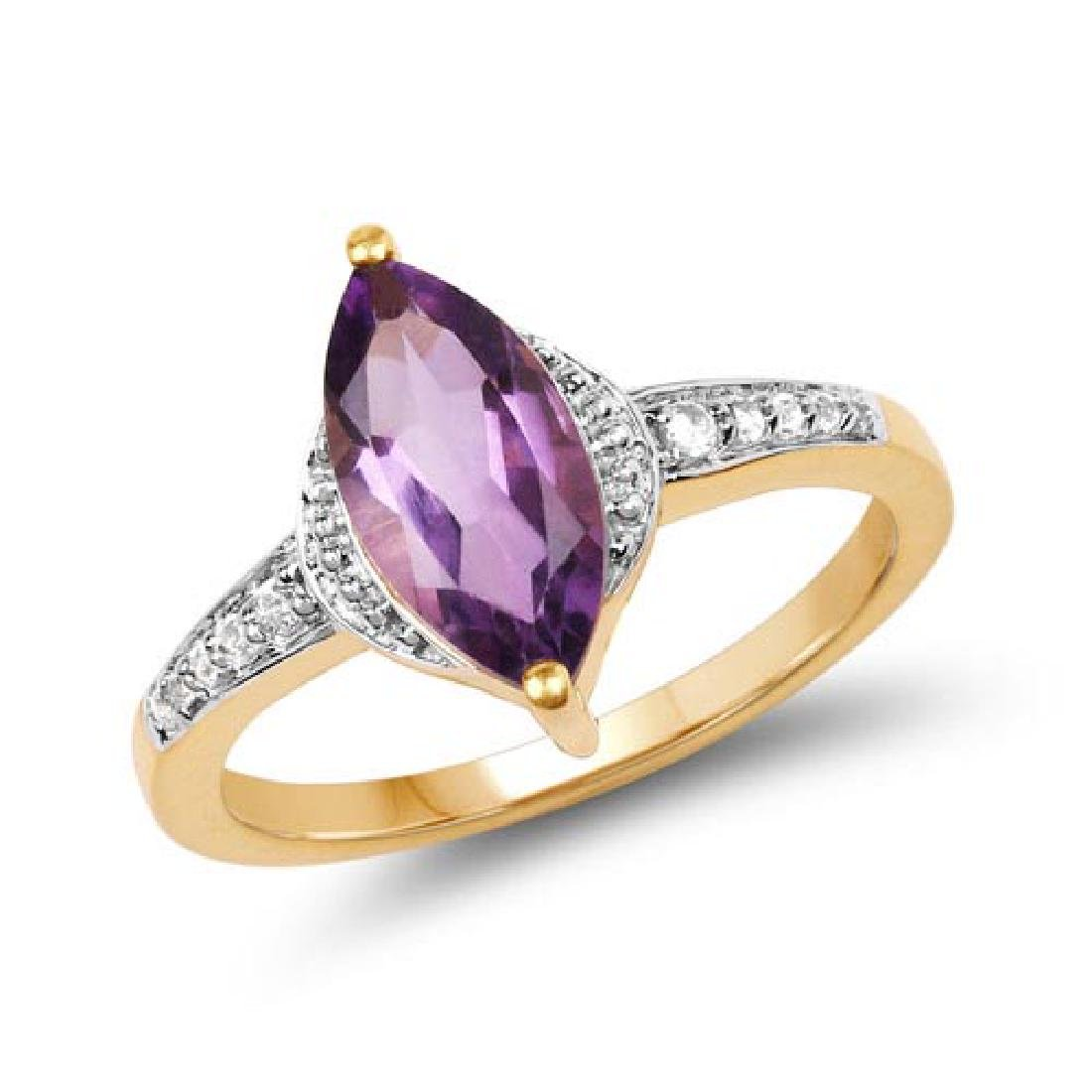 14K Yellow Gold Plated 1.55 Carat Genuine Amethyst and