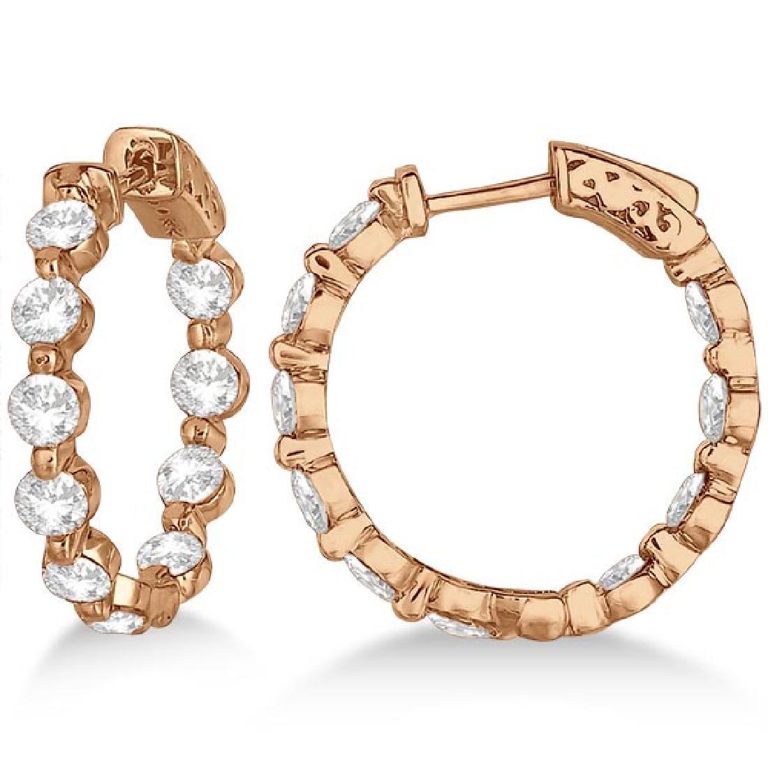 Small Round Floating Diamond Hoop Earrings 14k Rose Gol