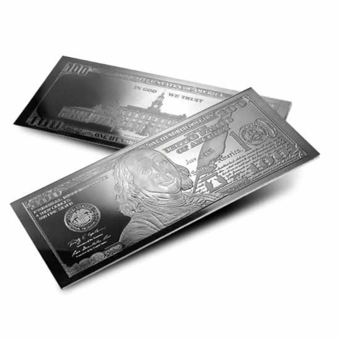 Silver 4 Ounce Bar - 2017 $100 Bill .999 Fine