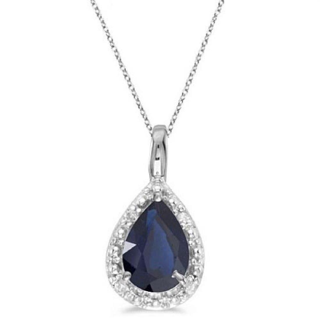 Pear Shaped Blue Sapphire Pendant Necklace 14k White Go