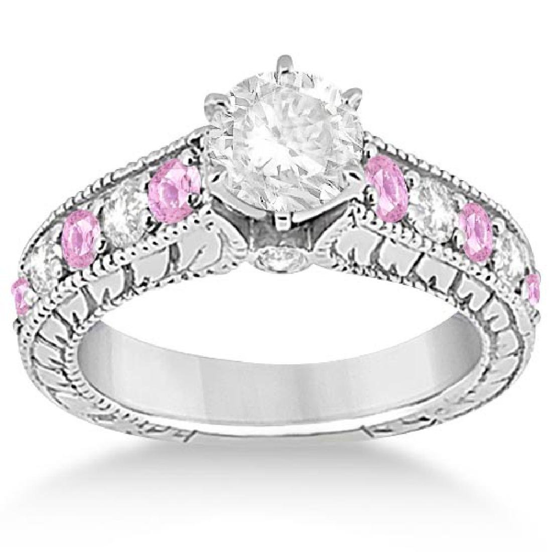 Vintage Diamond and Pink Sapphire Engagement Ring in 14