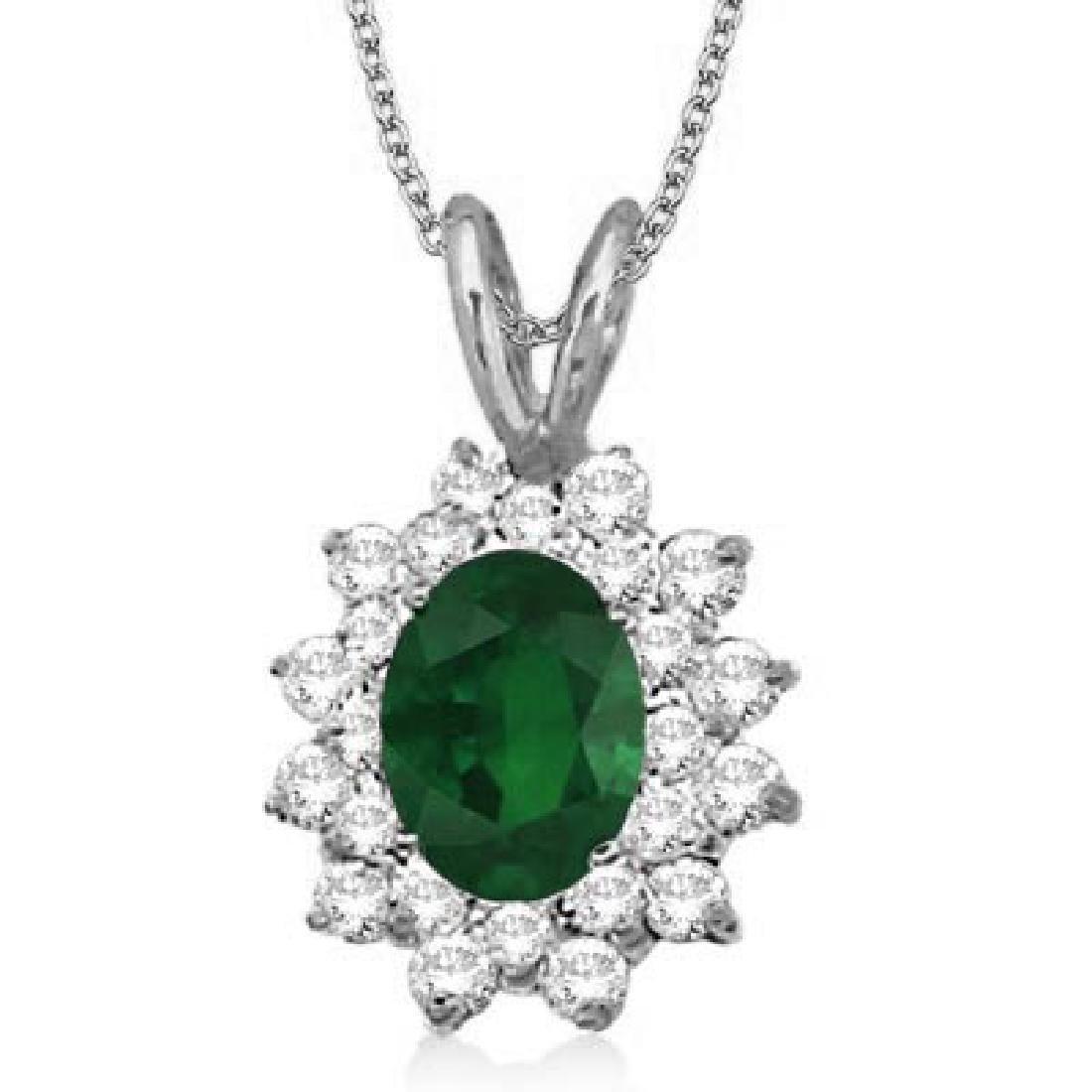 Emerald and Diamond Accented Pendant 14k White Gold (1.