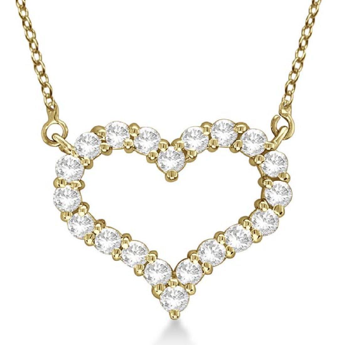 Open Heart Diamond Pendant Necklace 14k Yellow Gold (3.