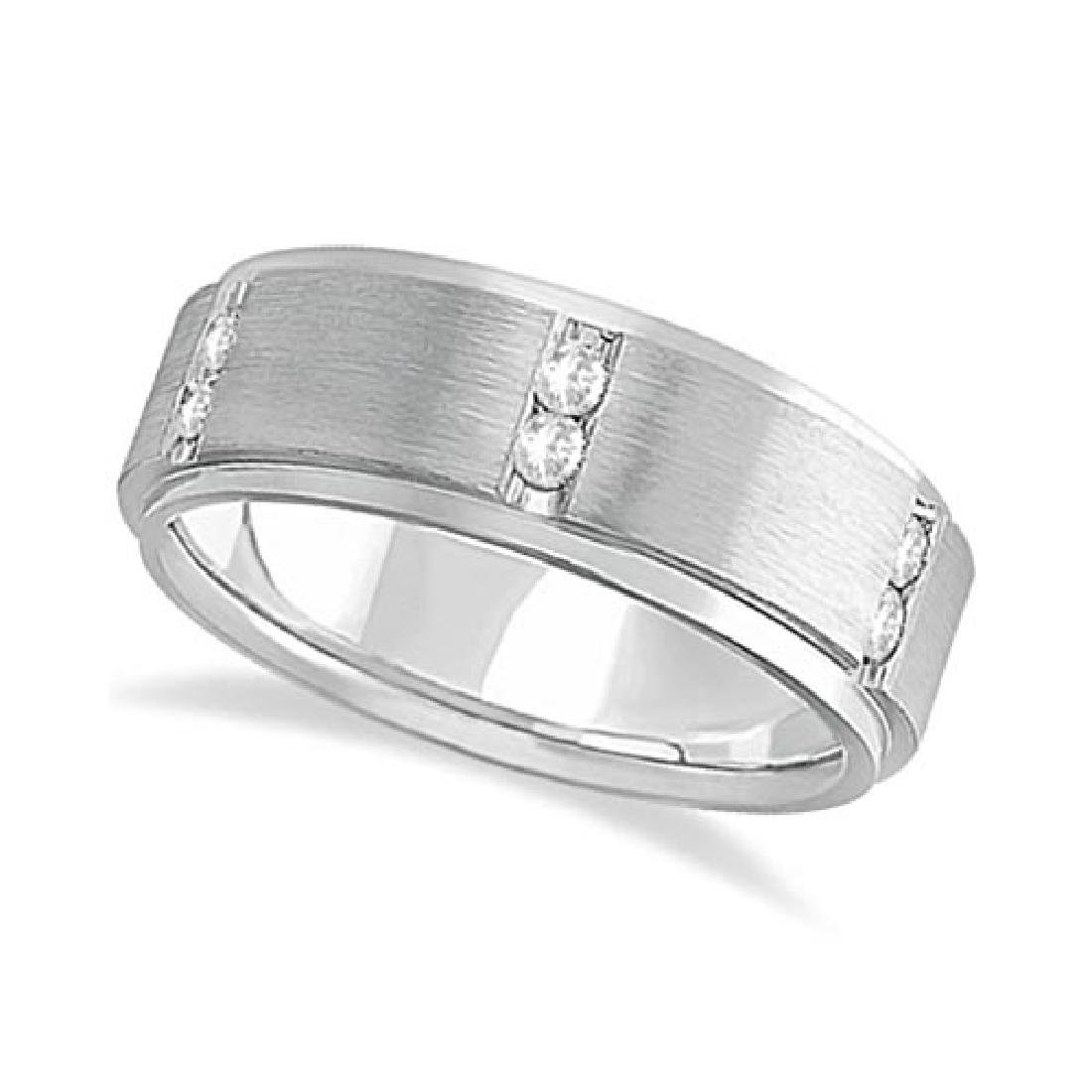 Mens Channel Set Wide Band Diamond Wedding Ring 14k Whi