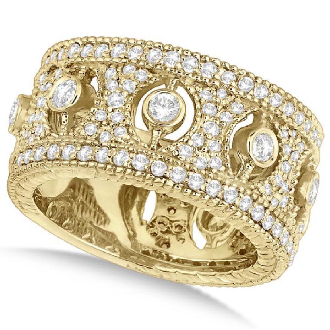 Vintage Bezel-Set Wide Band Diamond Ring 14k Yellow Gol