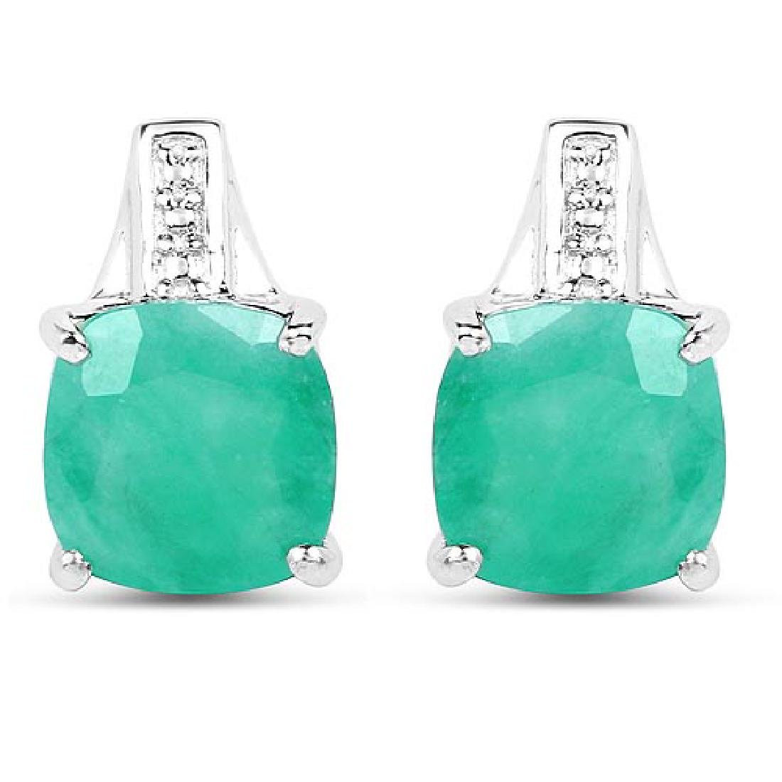 3.20 Carat Genuine Emerald Sterling Silver Earrings