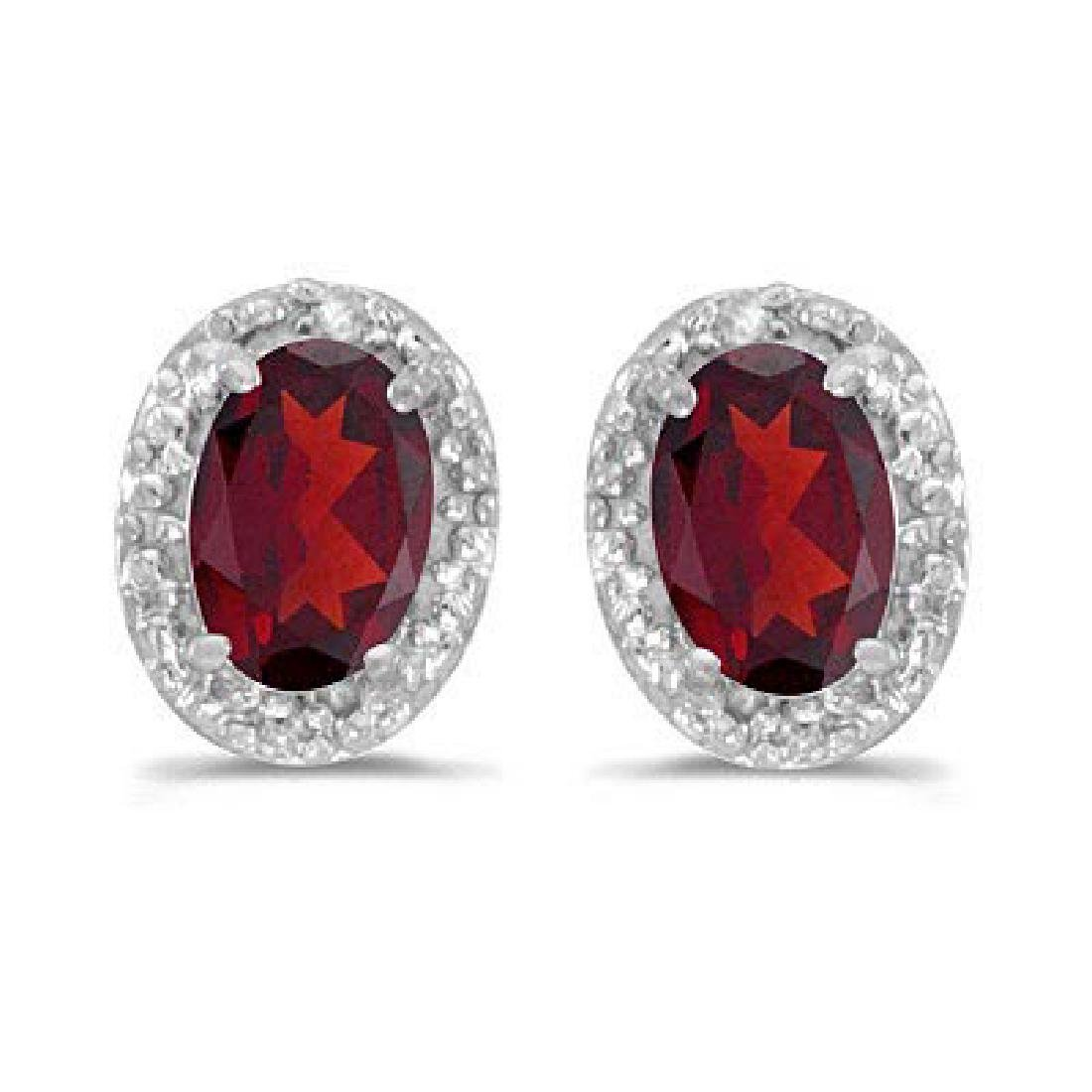 Diamond and Ruby Earrings in 14k White Gold (1.20ct)