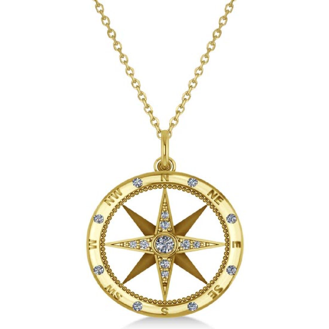 Compass Necklace Pendant Diamond Accented 14k Yellow Go