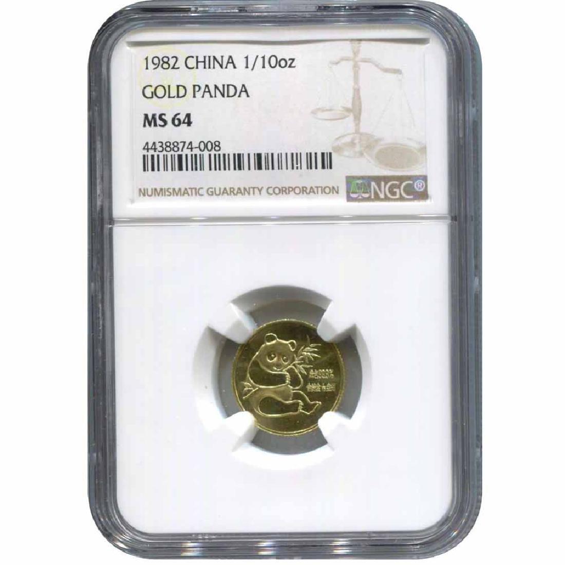 China Tenth Ounce Gold Panda 1982 MS64 NGC