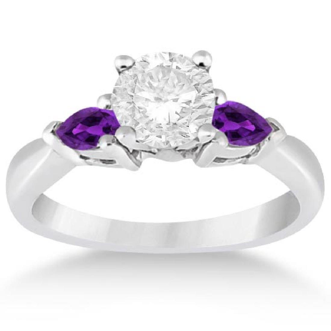 Pear Cut Three Stone Amethyst Engagement Ring 14k White