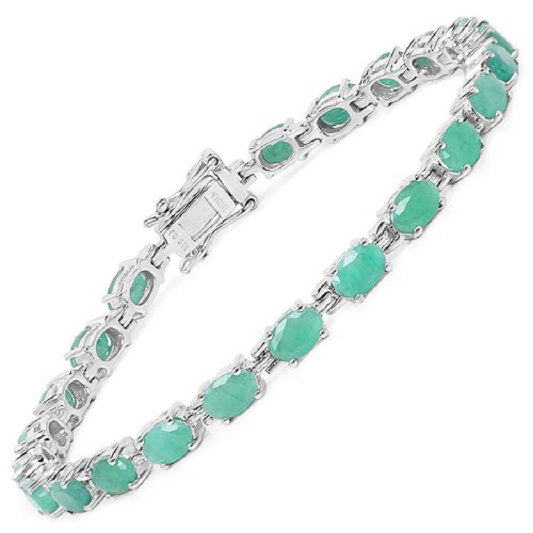 9.68 Carat Genuine Emerald Sterling Silver Bracelet
