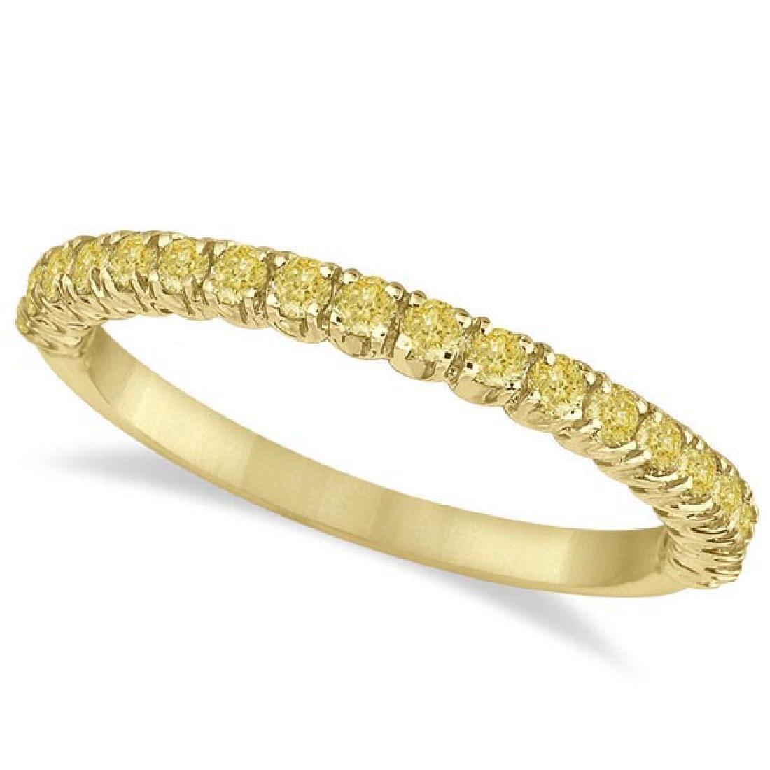 Half-Eternity Pave Thin Yellow Diamond Ring 14k Yellow