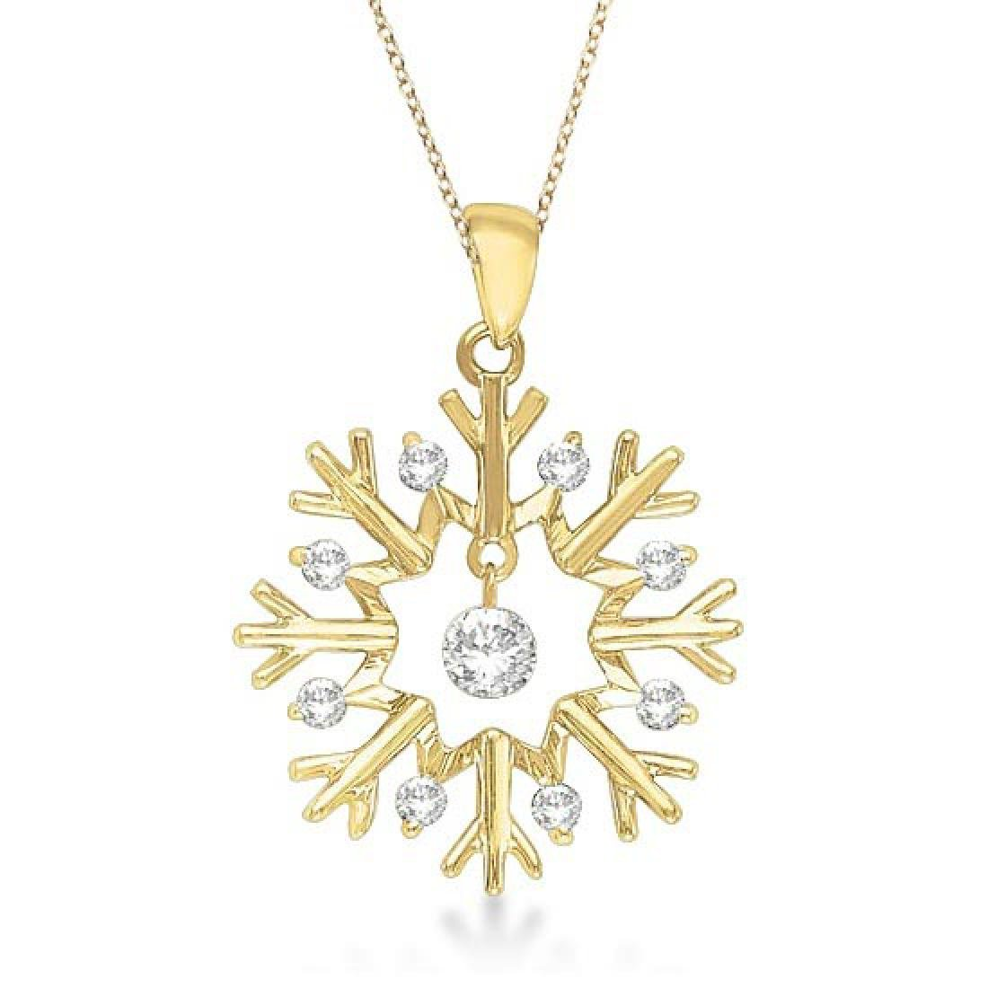 Snowflake Shaped Diamond Pendant Necklace 14k Yellow Go