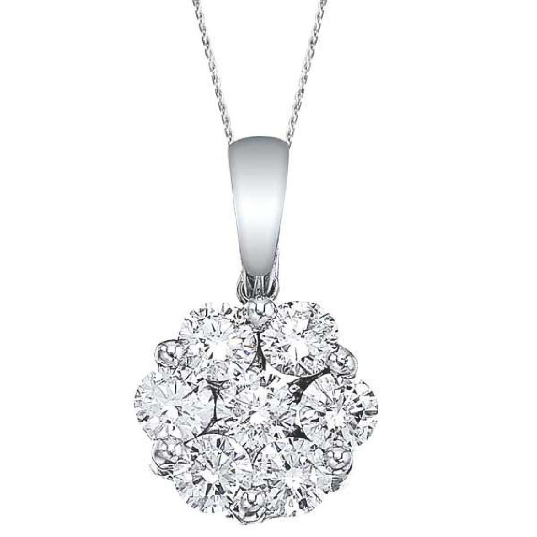 Diamond Cluster Flower Pendant Necklace in 14k White Go