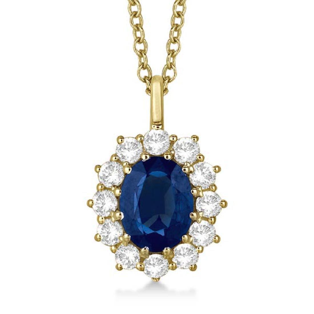 Oval Blue Sapphire and Diamond Pendant Necklace 14k Yel