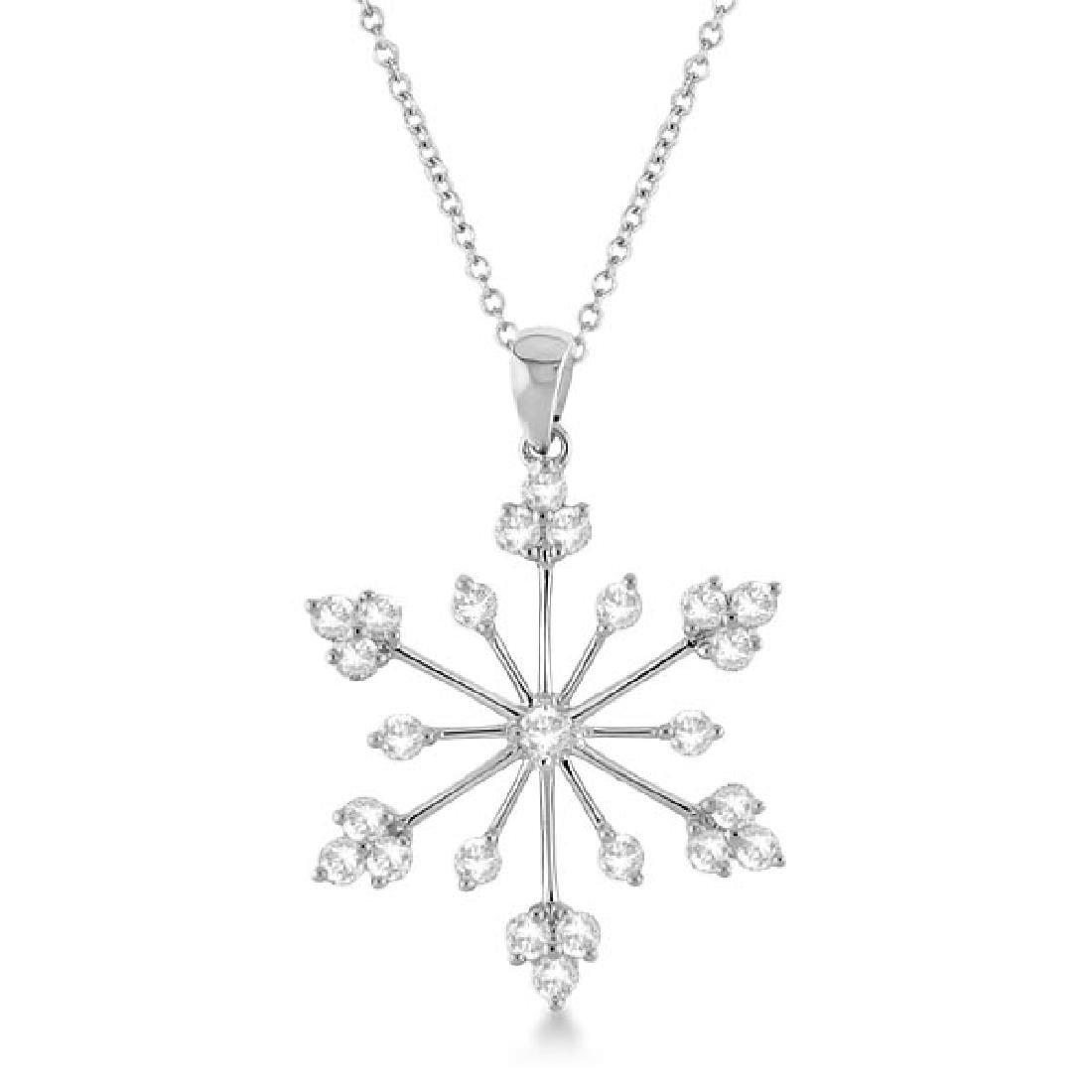 Snowflake Shaped Diamond Pendant Necklace 14k White Gol