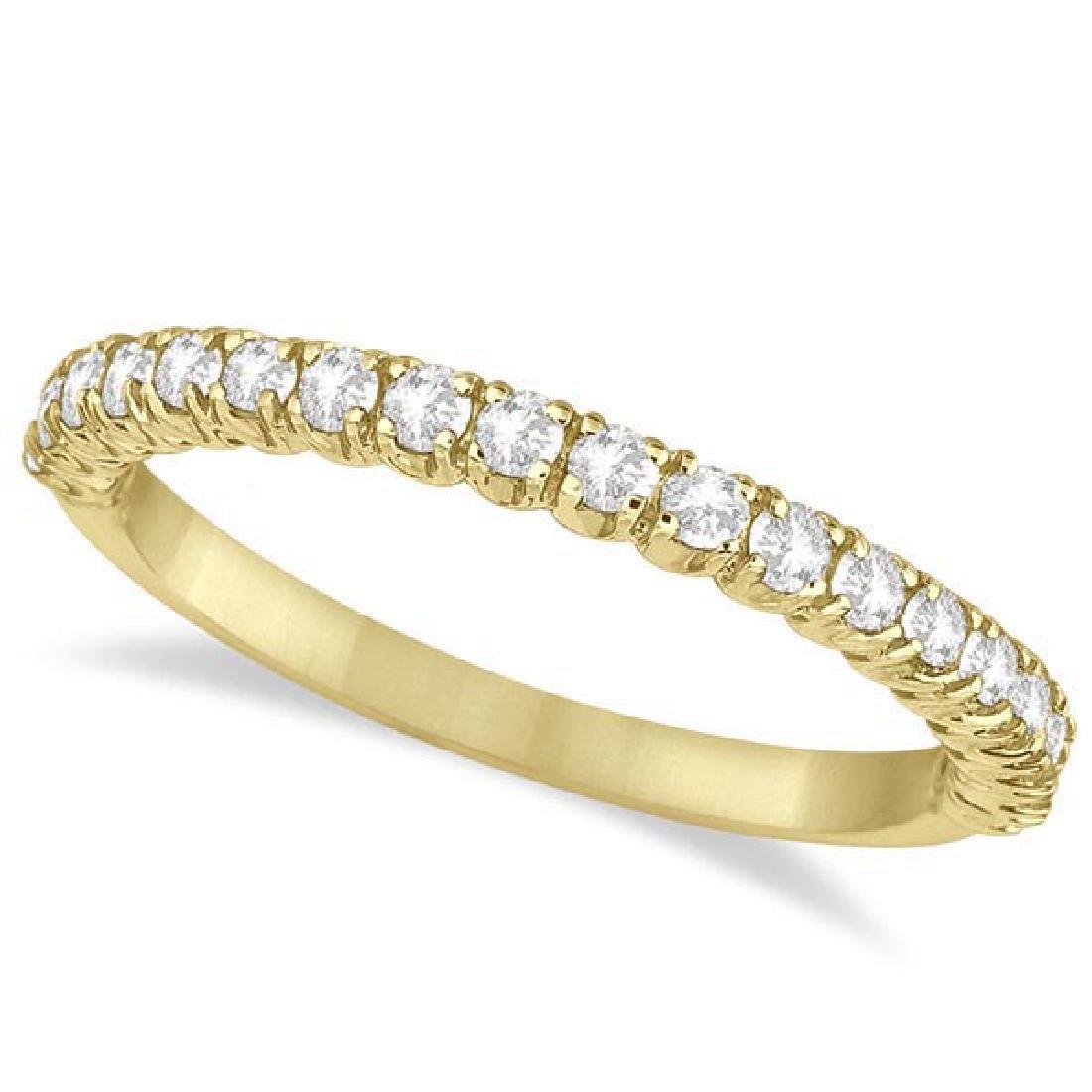 Half-Eternity Pave Thin Diamond Stacking Ring 14k Yello