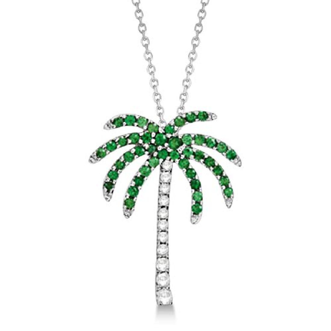 Tsavorite and Diamond Palm Tree Necklace 14k White Gold