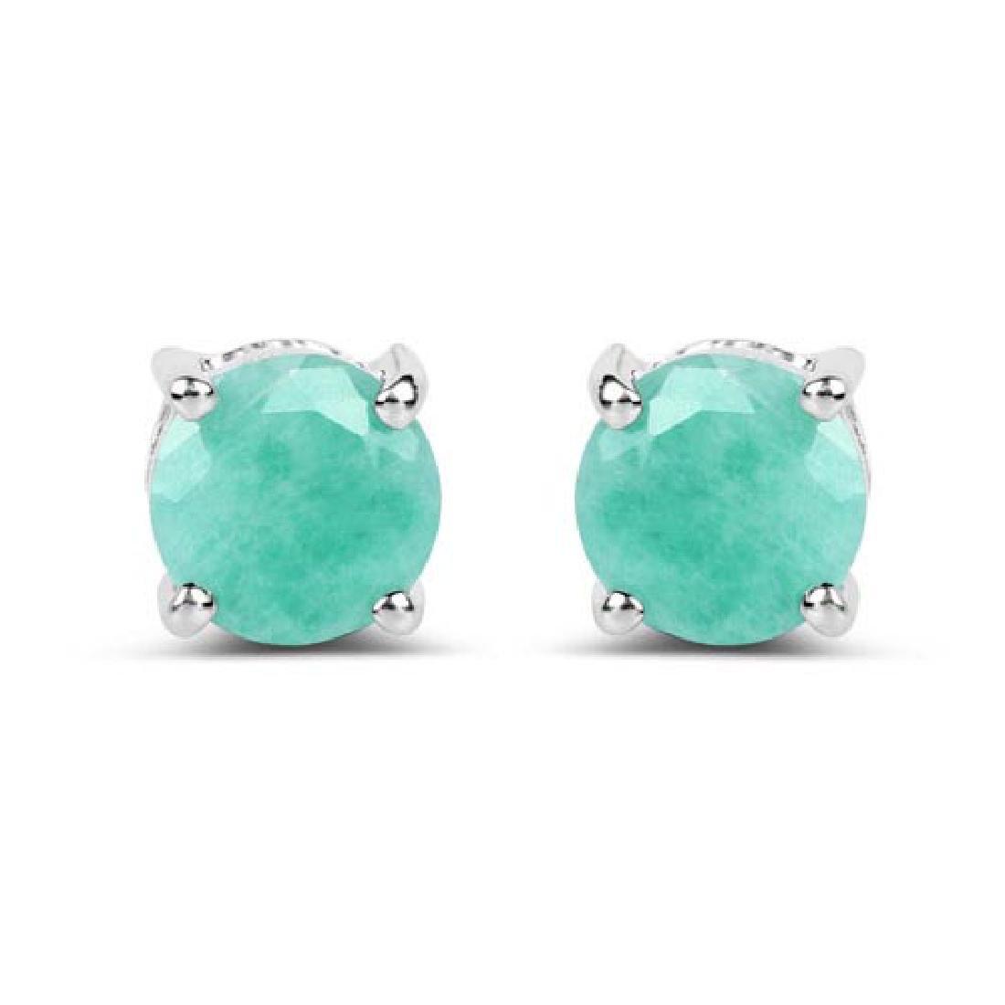 1.50 Carat Genuine Emerald .925 Sterling Silver Earring