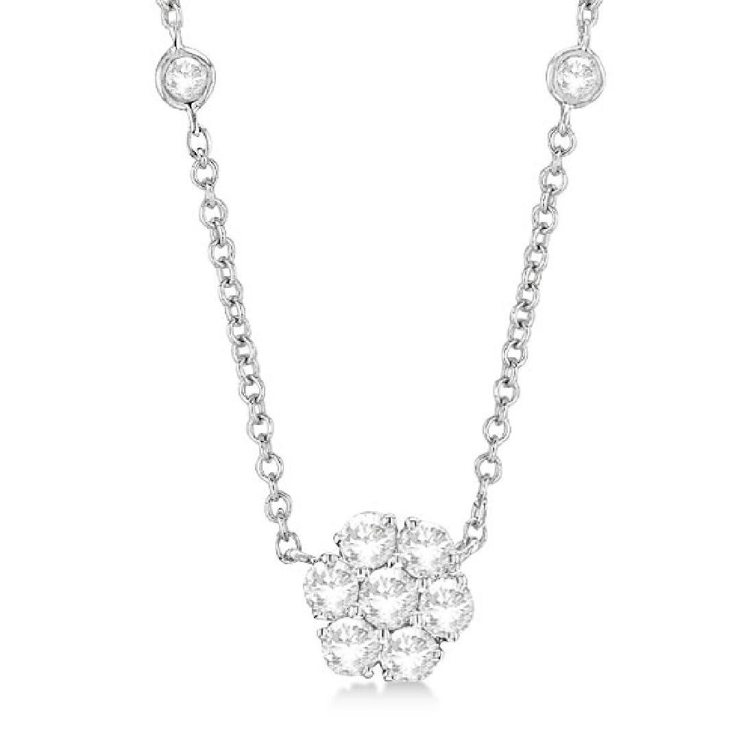 Flower Pendant Diamonds By The Yard Necklace 14k White