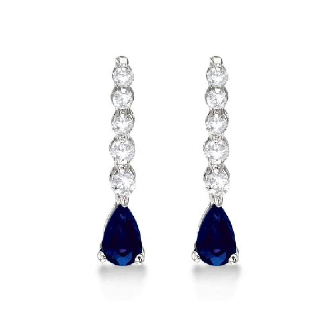 Pear Sapphire and Diamond Graduated Drop Earrings 14k W