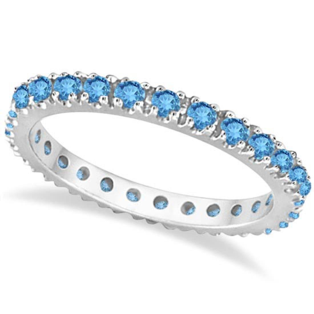 Blue Topaz Eternity Stackable Ring Band 14K White Gold