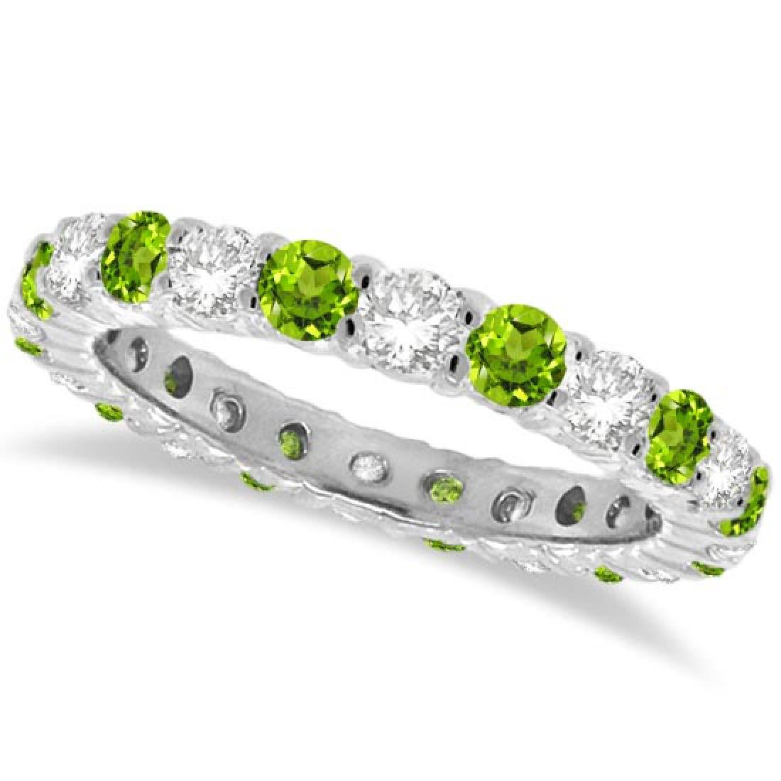 Peridot and Diamond Eternity Ring Band 14k White Gold (