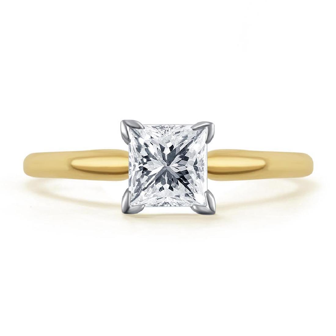 CERTIFIED 0.95 CTW PRINCESS J/SI1 SOLITAIRE RING IN 14K