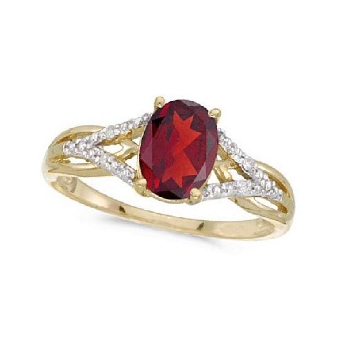 Oval Ruby and Diamond Cocktail Ring in 14K Yellow Gold