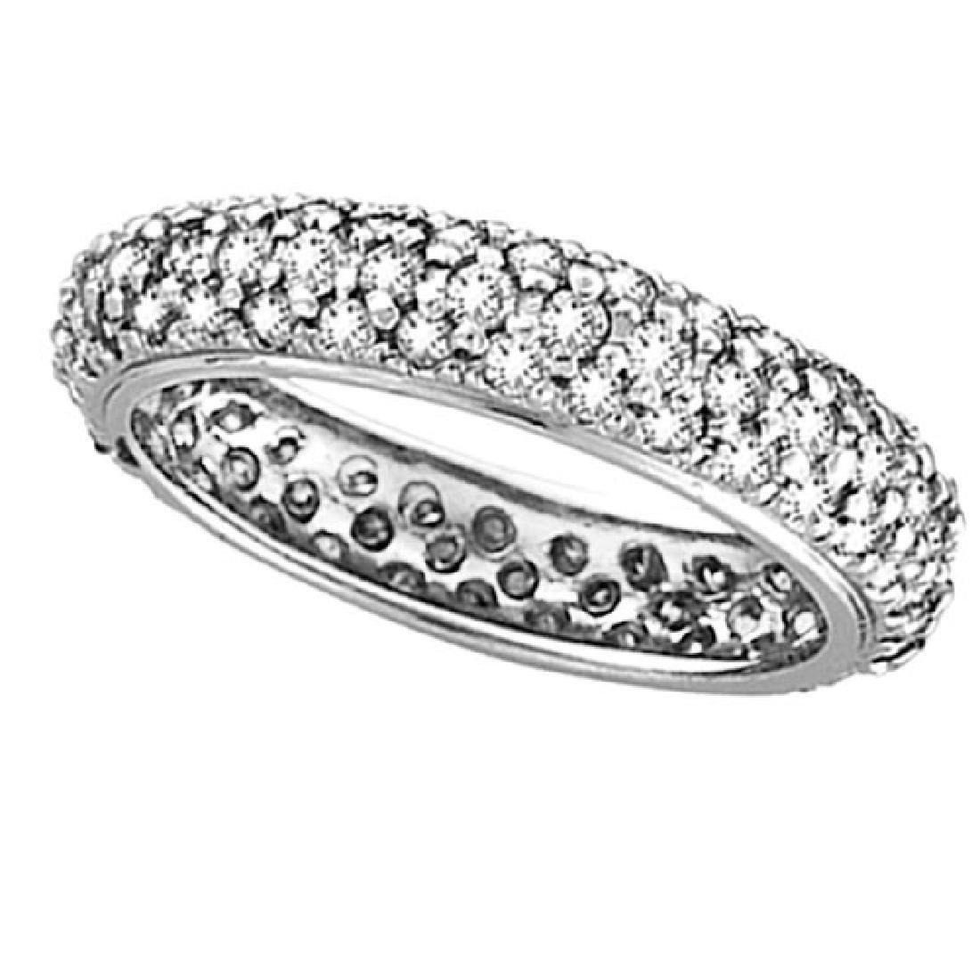 Pave Set Eternity Diamond Ring Band in 14K White Gold (