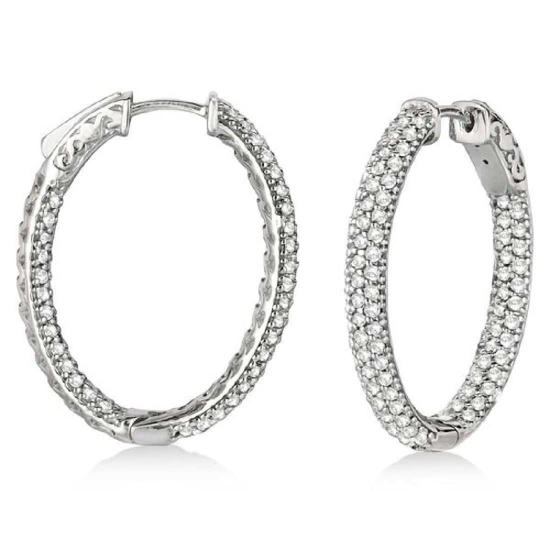 Pave-Set Inside-Outside Diamond Hoop Earrings 14k White