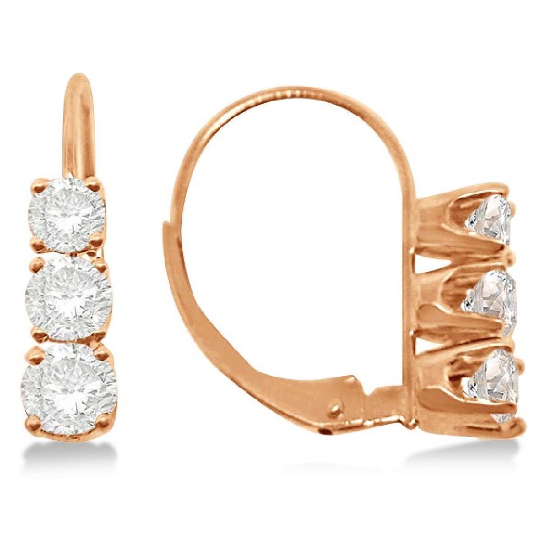 Three-Stone Leverback Diamond Earrings 14k Rose Gold (1