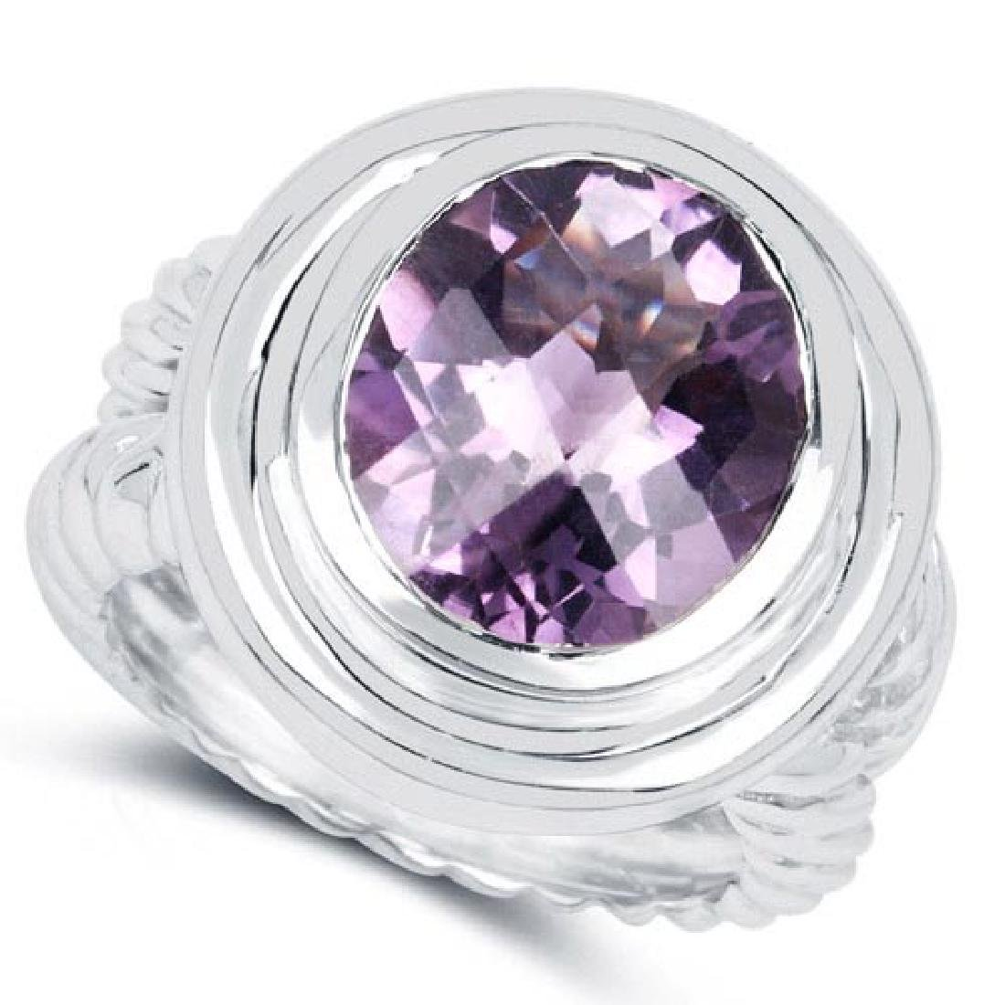 6.92 Carat Genuine Amethyst .925 Sterling Silver Ring