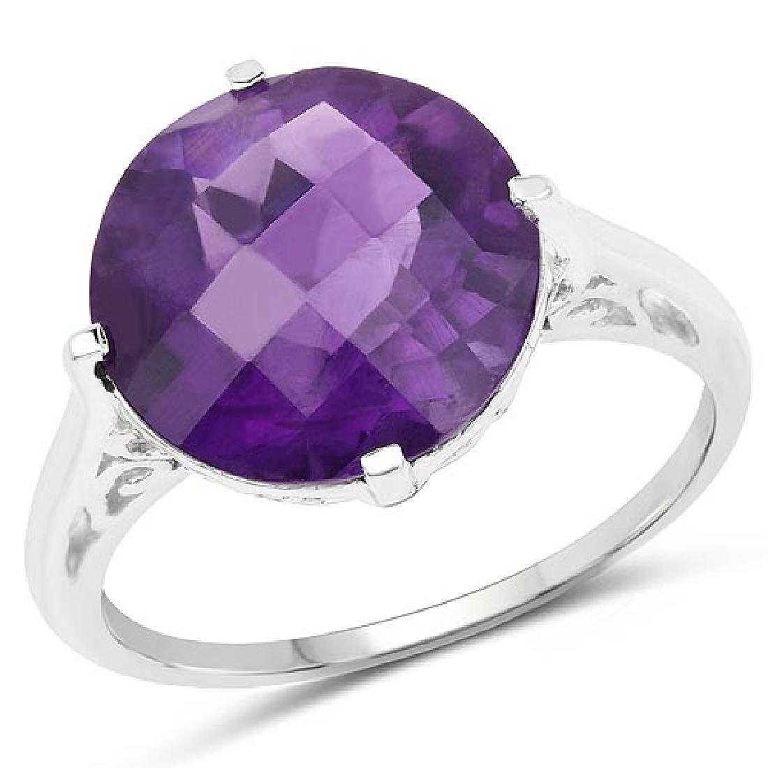 5.60 Carat Genuine Amethyst .925 Sterling Silver Ring