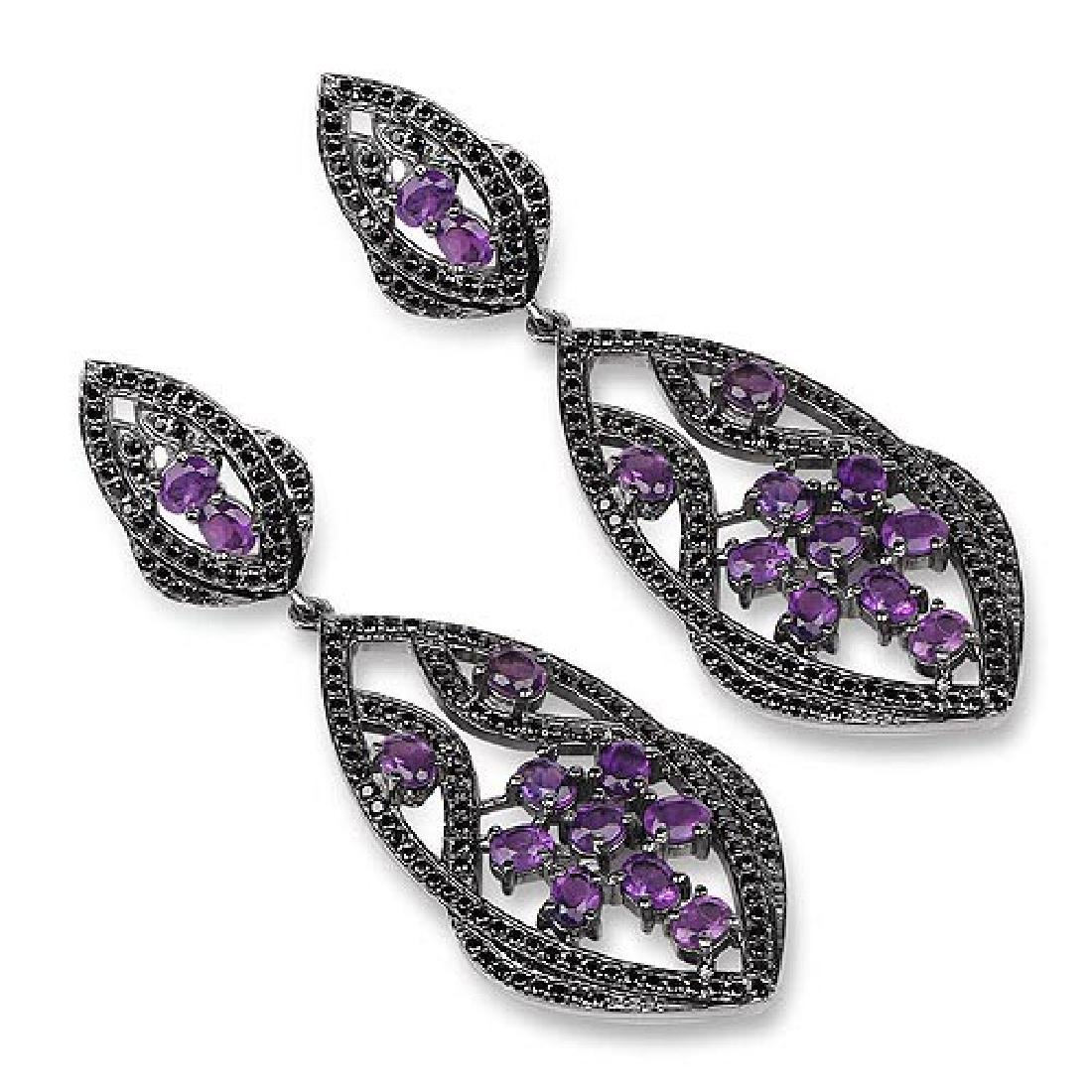 5.74 Carat Genuine Amethyst and Black Spinel .925 Sterl