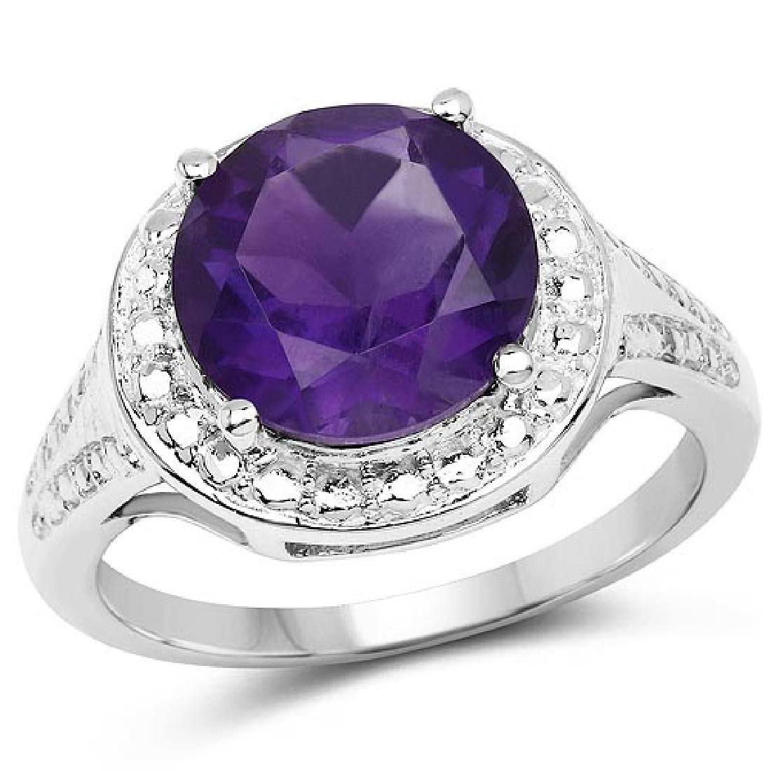 3.30 Carat Genuine Amethyst .925 Sterling Silver Ring