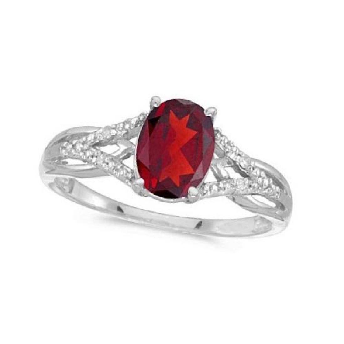 Oval Ruby and Diamond Cocktail Ring in 14K White Gold (