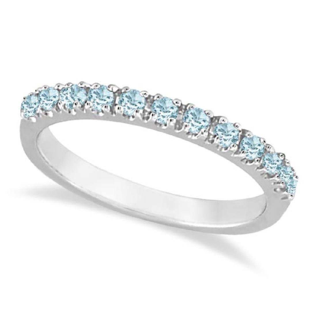 Aquamarine Stackable Ring Anniversary Band in 14k White