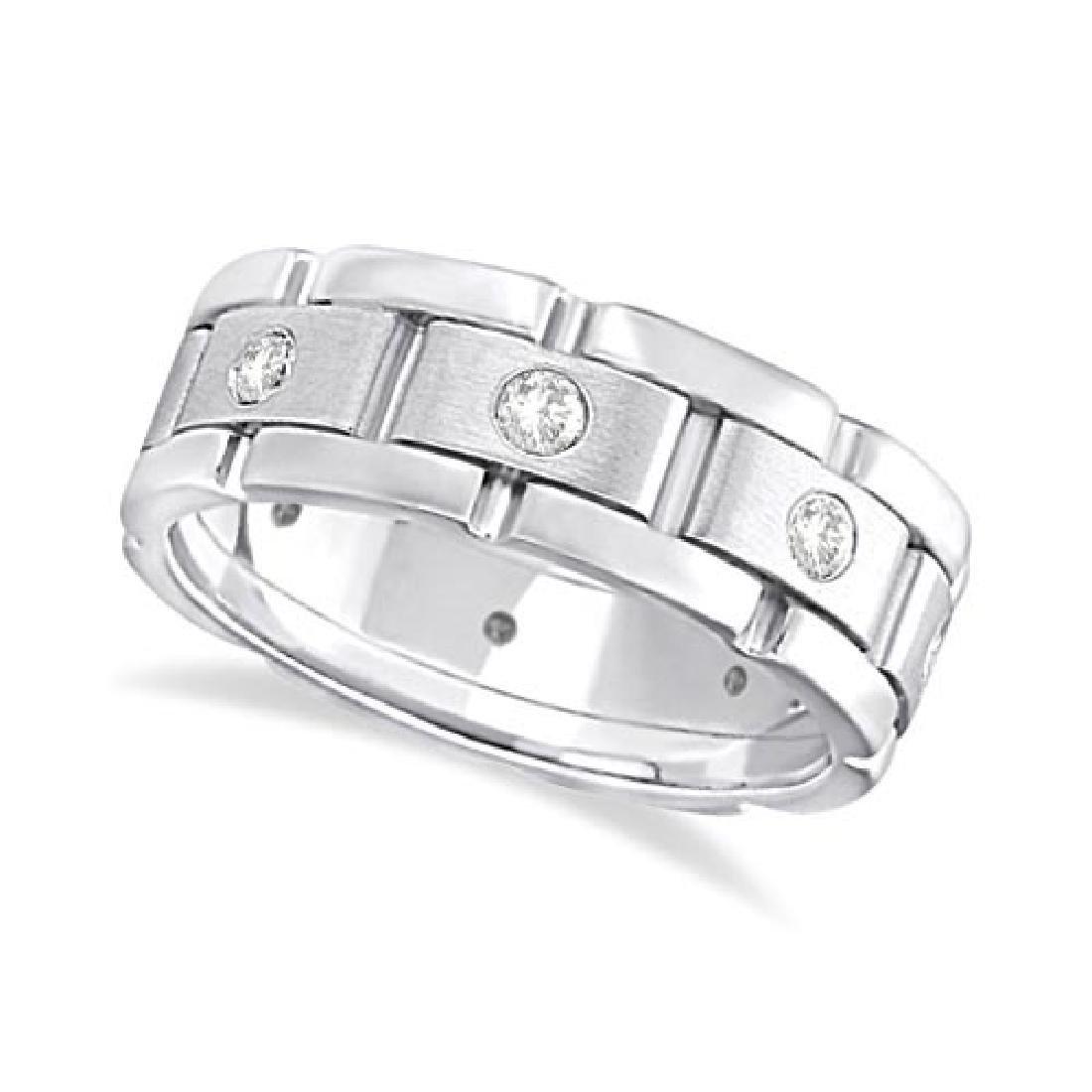 Mens Wide Band Diamond Eternity Wedding Ring 18kt White