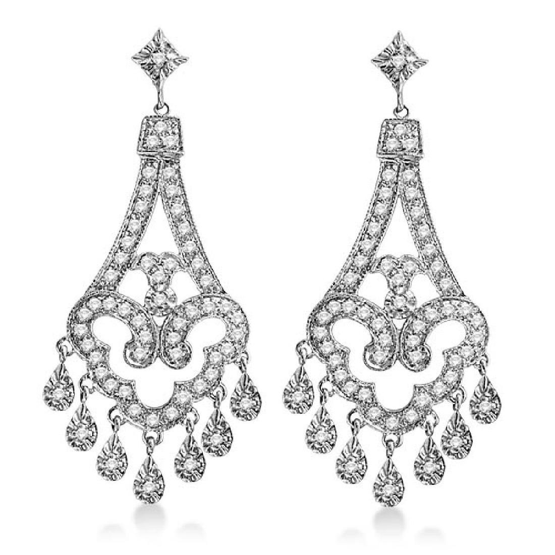 Dangling Chandelier Diamond Earrings 14K White Gold (1.