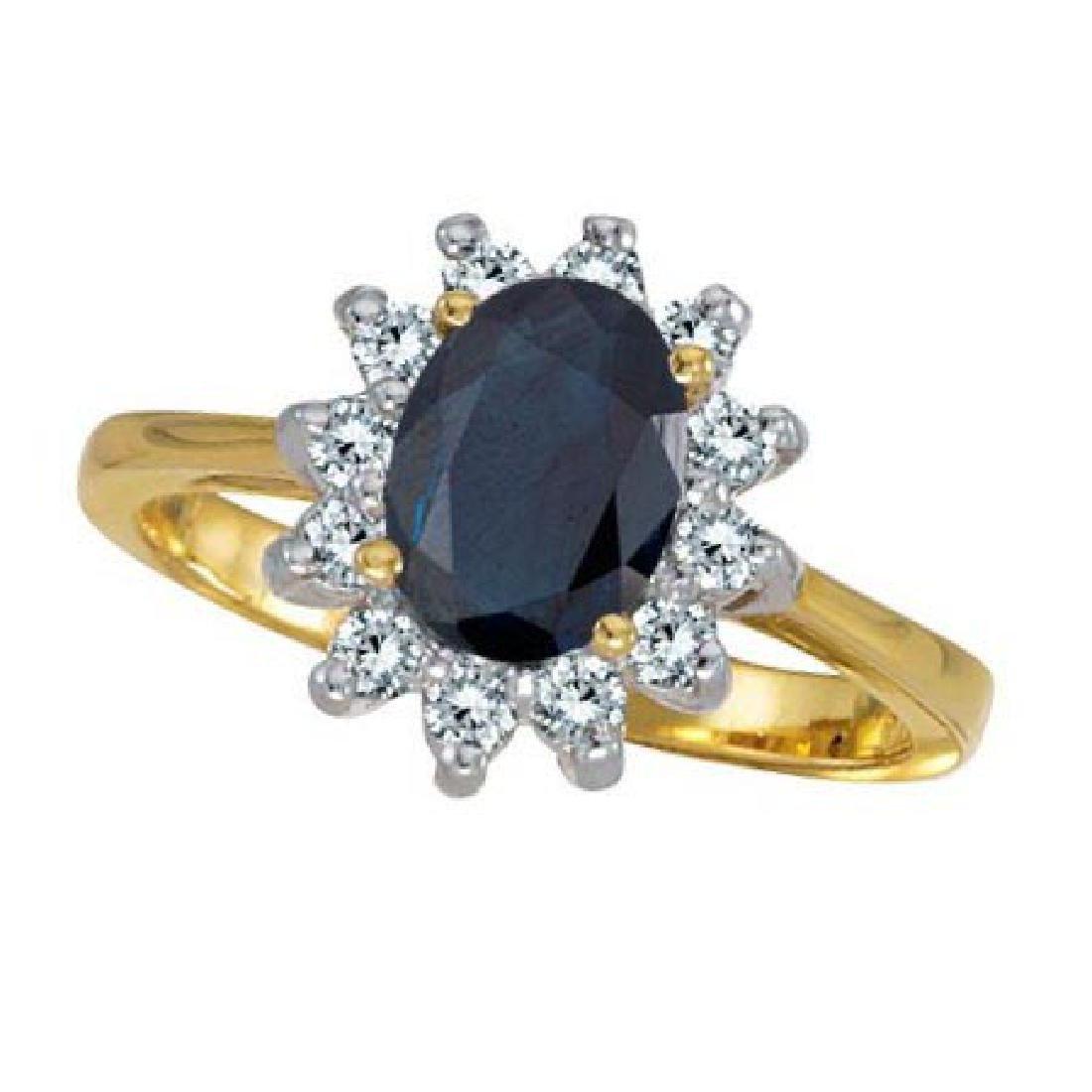 Lady Diana Blue Sapphire and Diamond Ring 14k Yellow Go