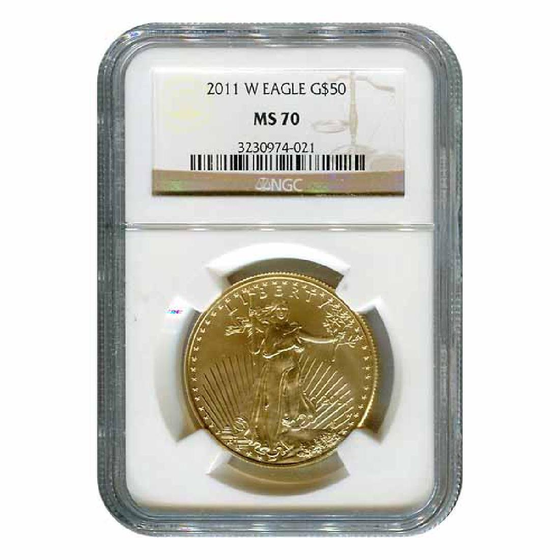 Certified Burnished American $50 Gold Eagle 2011-W MS70
