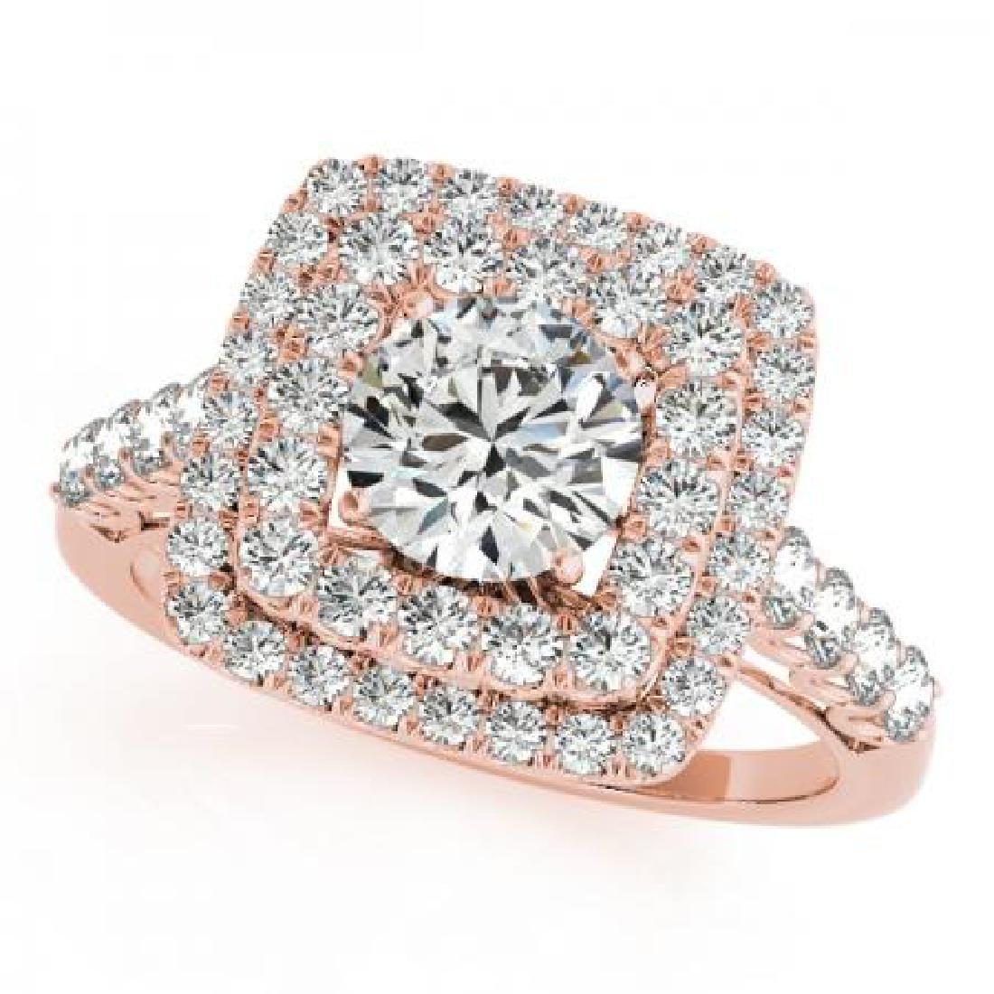 CERTIFIED 18K ROSE GOLD 2.14 CT G-H/VS-SI1 DIAMOND HALO