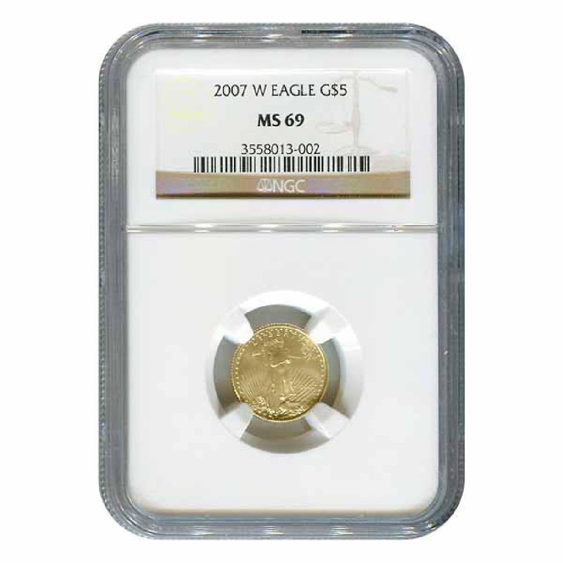 Certified Burnished American $5 Gold Eagle 2007-W MS69