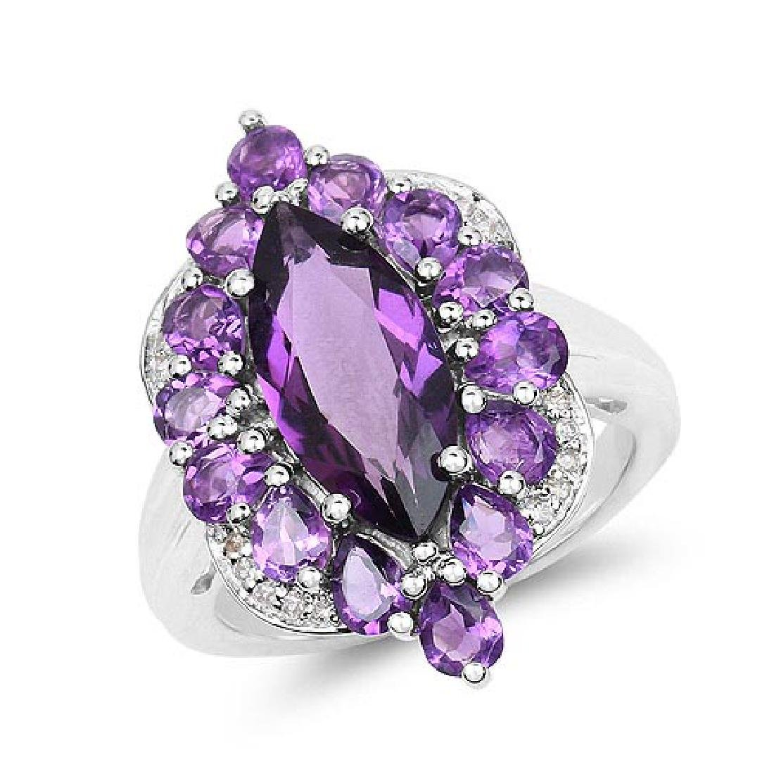 4.87 Carat Genuine Amethyst and White Topaz .925 Sterli