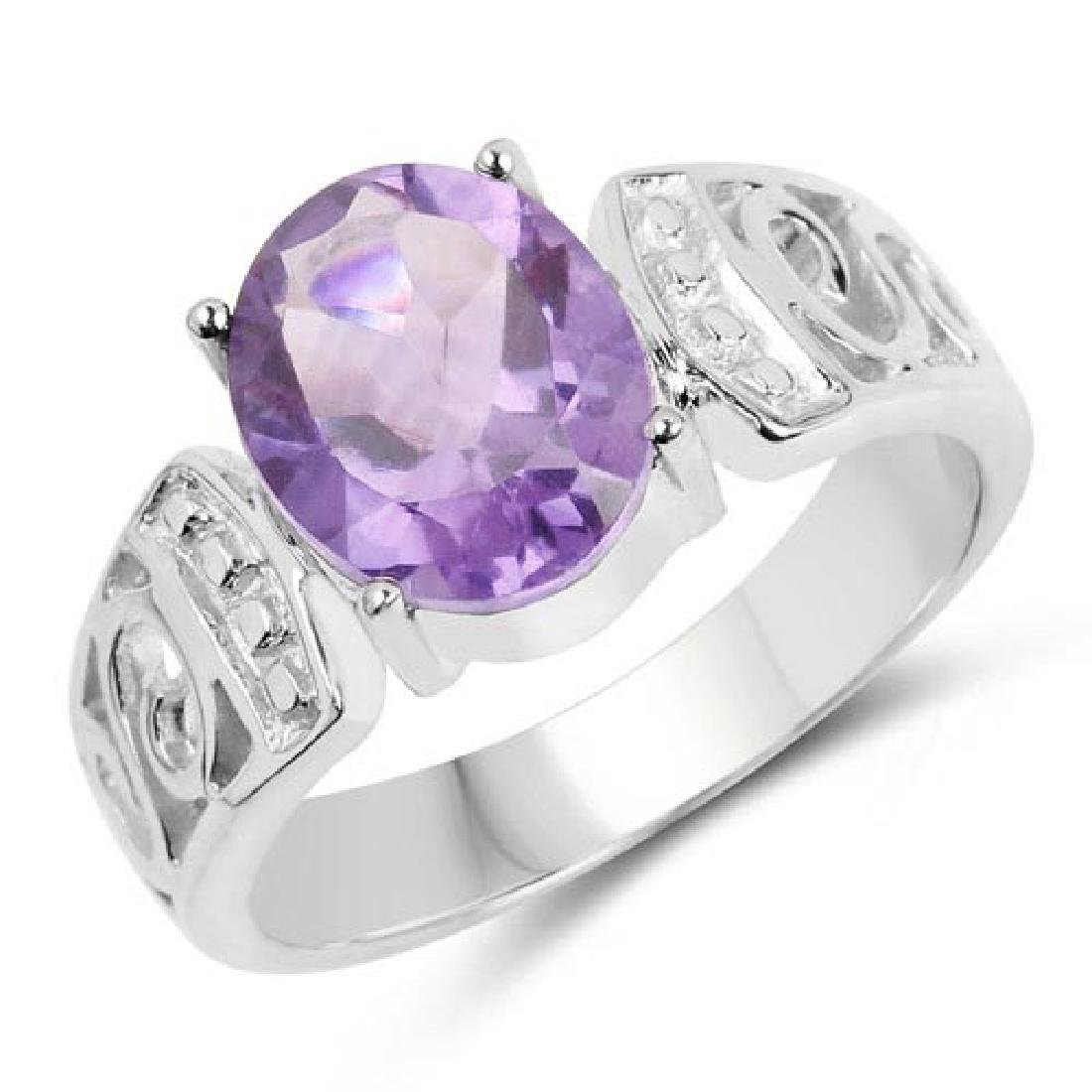 2.64 Carat Genuine Amethyst .925 Sterling Silver Ring