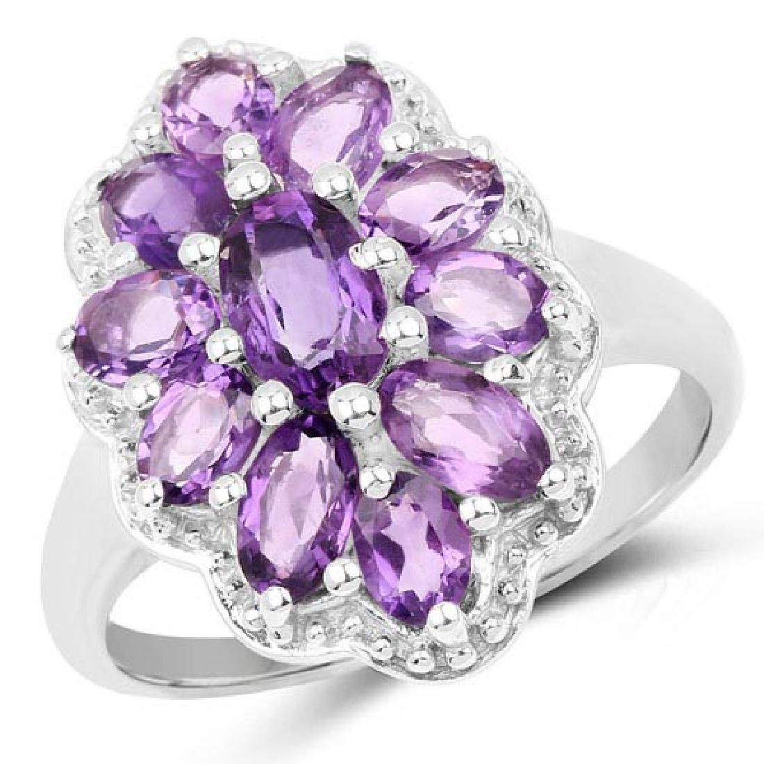 2.23 Carat Genuine Amethyst .925 Sterling Silver Ring
