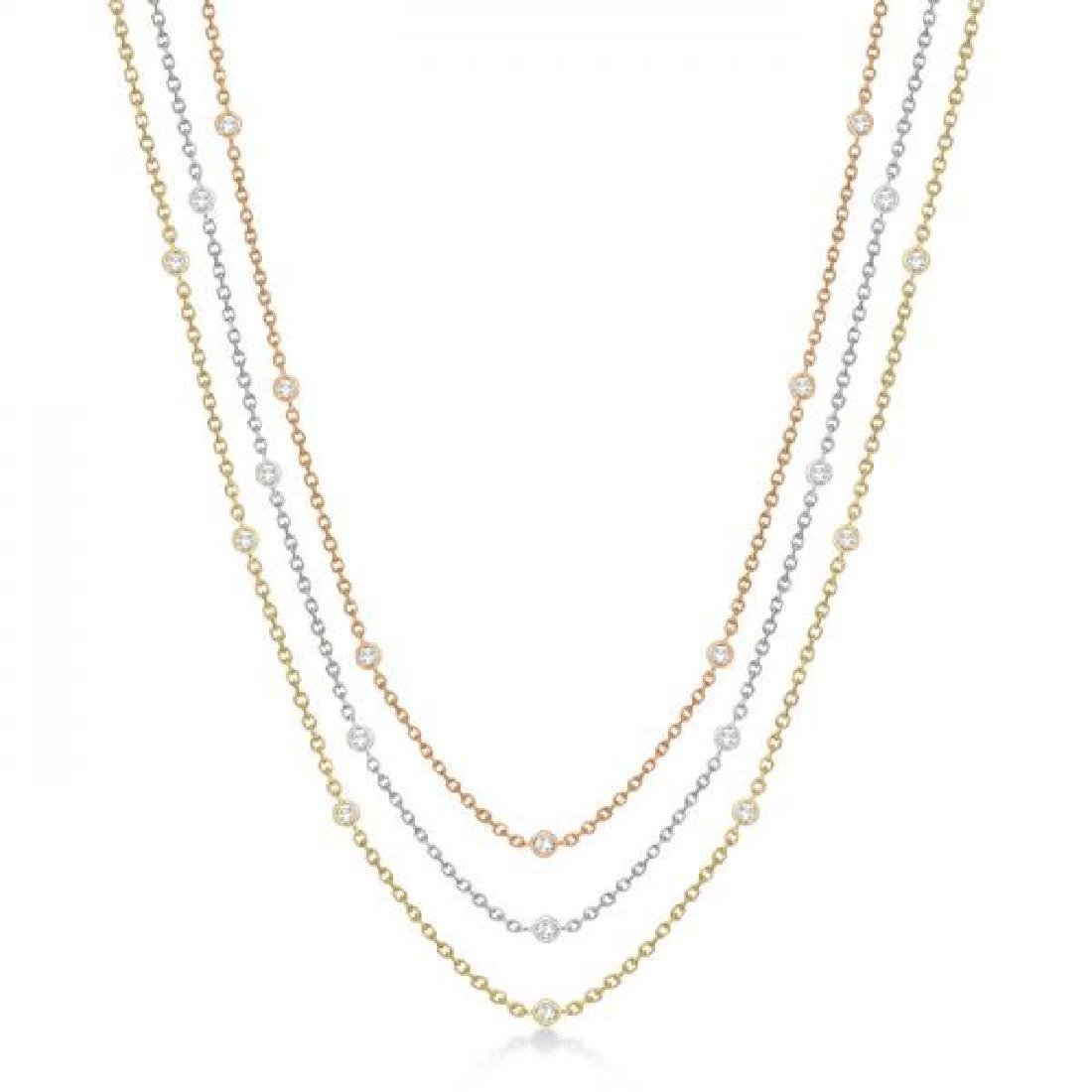 Three-Strand Diamond Station Necklace in 14k Three-Tone